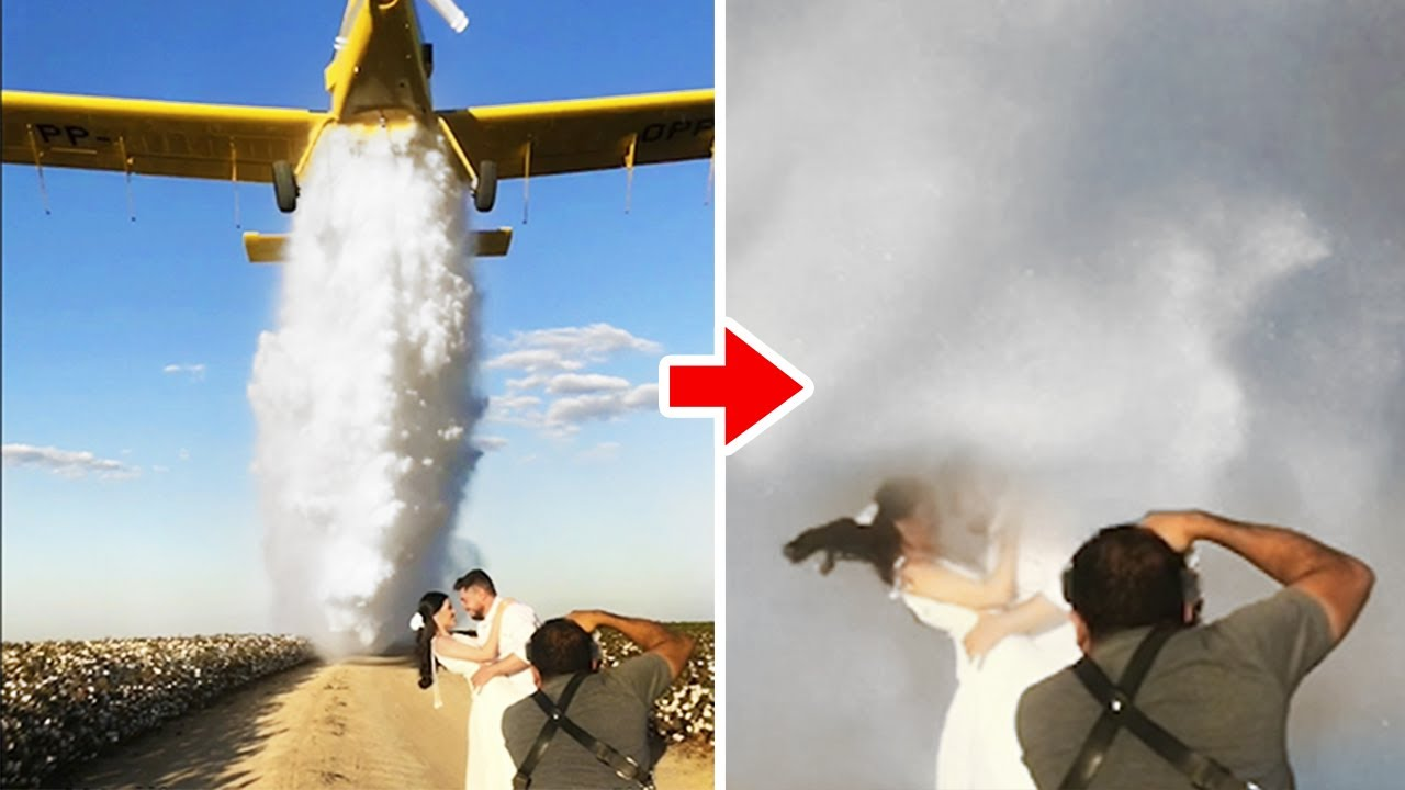 Plane Drops Water On Newlyweds