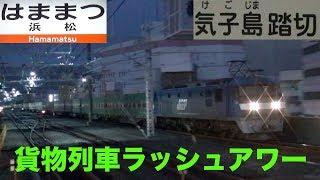 【貨物列車】深夜は貨物列車のラッシュアワー 大迫力の疾風の貨物列車