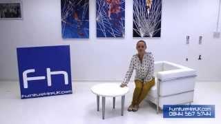 Circular White Coffee Table Demo - Furniture Hire Uk