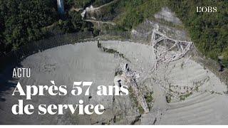 Les images aériennes du téléscope géant d'Arecibo, après son effondrement
