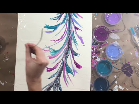 Fluid Acrylic Painting with Twine | Gorgeous Feather