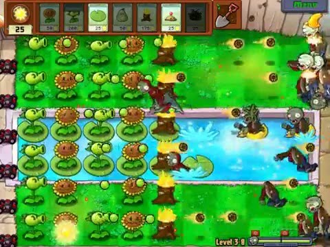 Gameplay-Plants Vs Zombies Level 3-8
