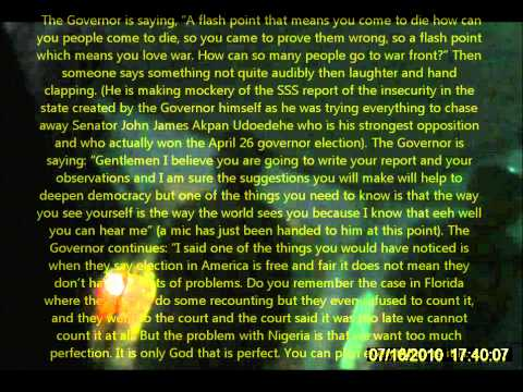 Governor Akpabio 2011 Nigeria Election Corruption and Briber