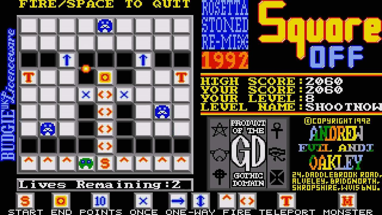 ATARI ST SQUARE OFF THE ROSETTA STONED REMIX SQUAREOFF NOT THE GAMEDEMO ONE  FROM ATARI ST REVIEW