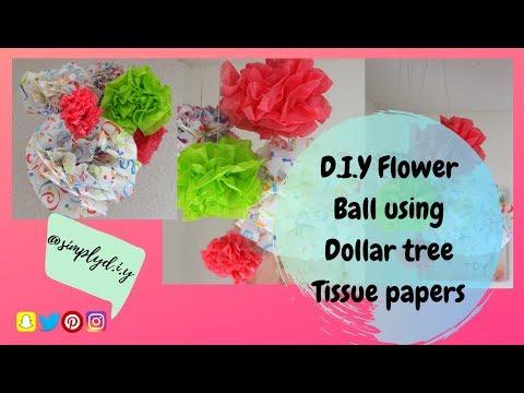 D.I.Y Flower Ball using Dollar Tree Tissue paper   Dollar Tree D.I.Y   simply D.I.Y