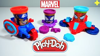 Play Doh Spiderman Marvel Can Heads Venom Captain America Playdough Unboxing & Review!