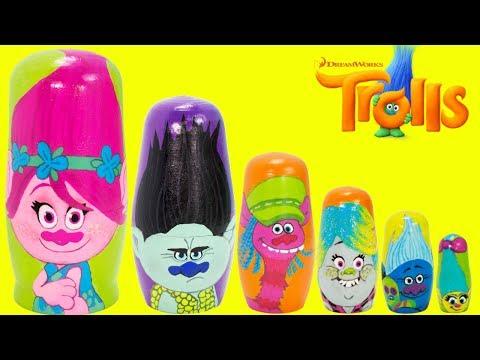Dreamworks TROLLS nesting dolls, Poppy, Branch, Cooper, Bridget, Biggie, Smidge TOY SURPRISES