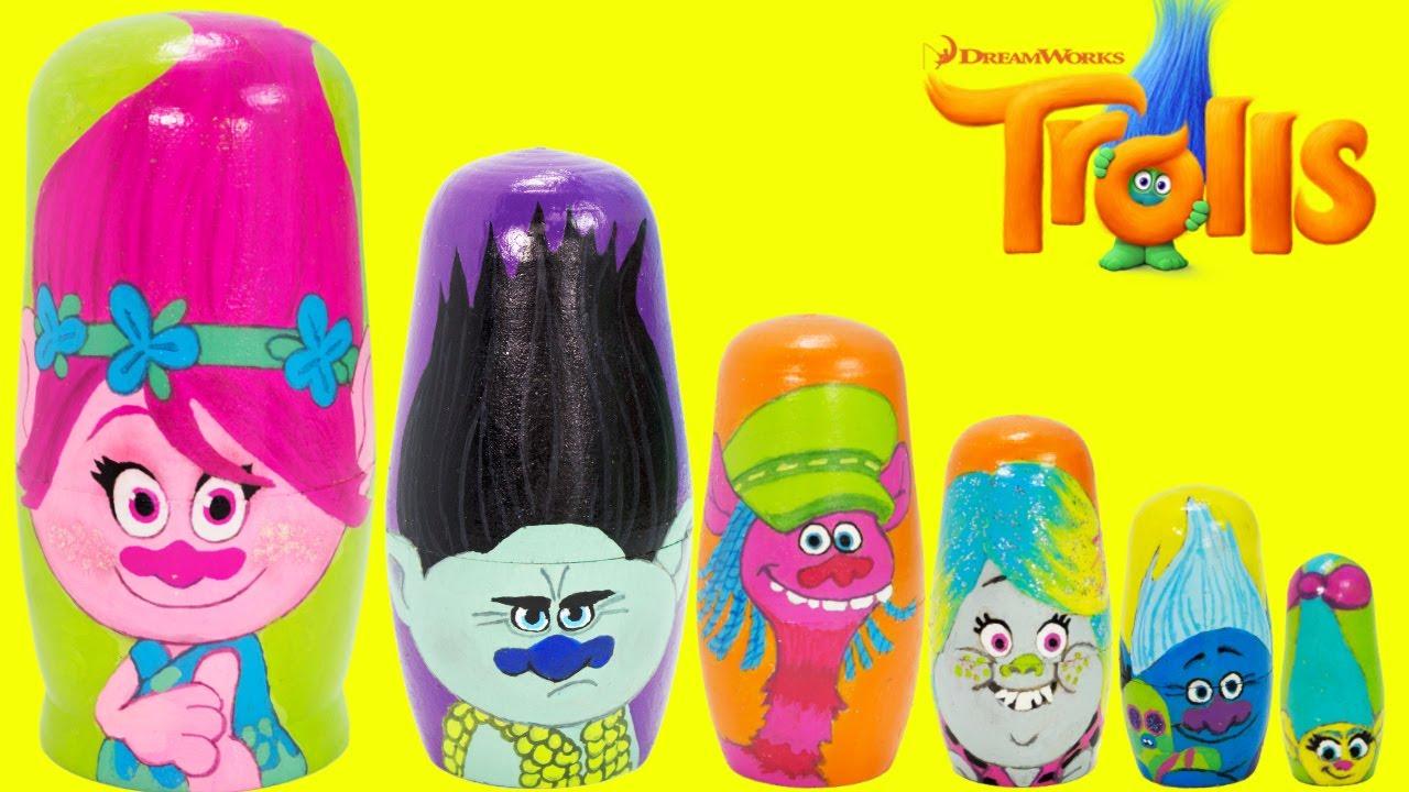Download Dreamworks TROLLS nesting dolls, Poppy, Branch, Cooper, Bridget, Biggie, Smidge TOY SURPRISES