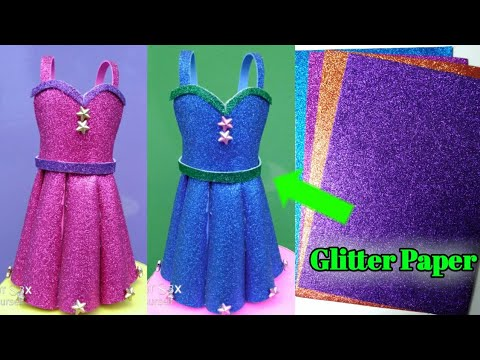 How to make paper dress | DIY Barbie Dress with color paper | barbie doll hacks | doll dress
