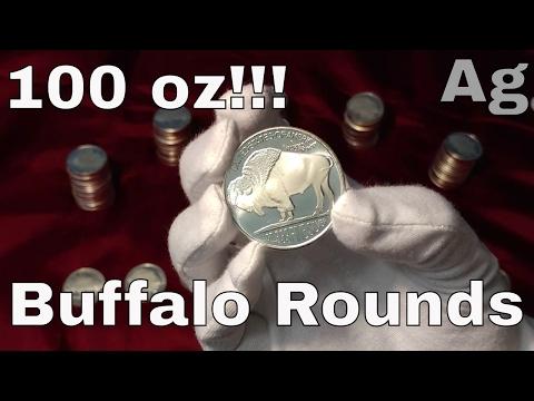 100 oz of Silver Buffalo Rounds