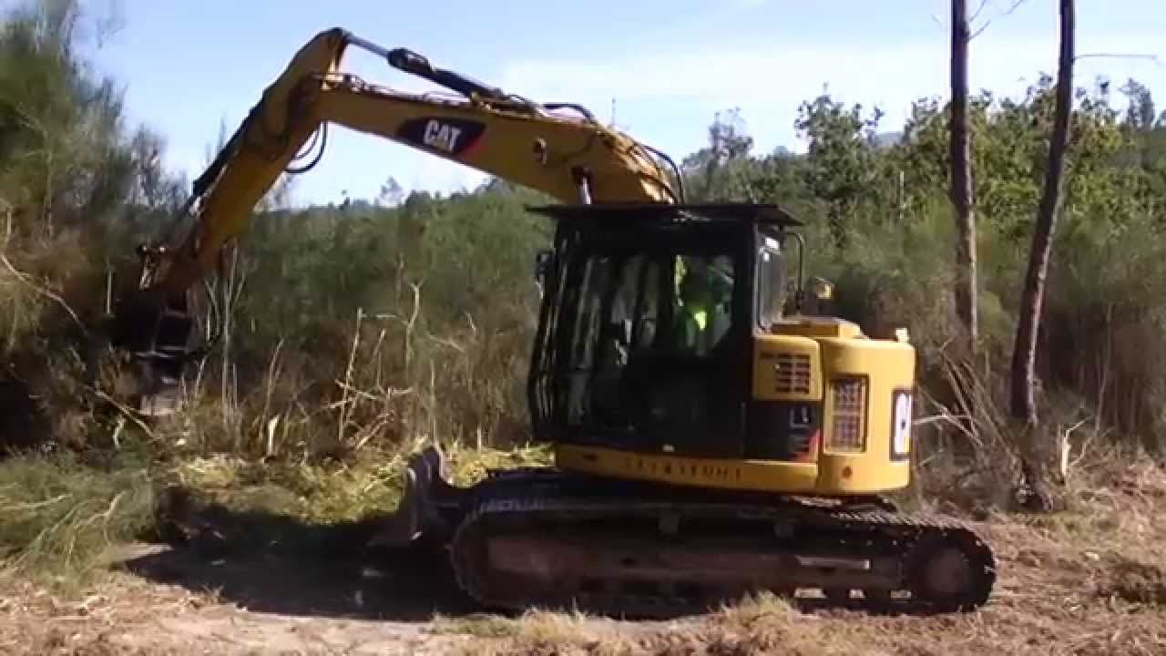 rental of a cat 314d track excavator in forest clearing application [ 1280 x 720 Pixel ]