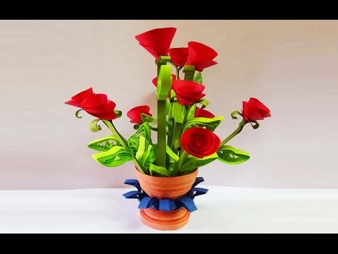 ☑️quilling artwork ❄ how to make  miniature rose flower pot ⏭Paper Quilling Art⏮