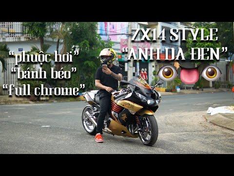 """Review ZX14 Độ FULL DRAG """" ANH DA ĐEN"""" - Phuộc Lên Xuống Như Xe Hơi"""