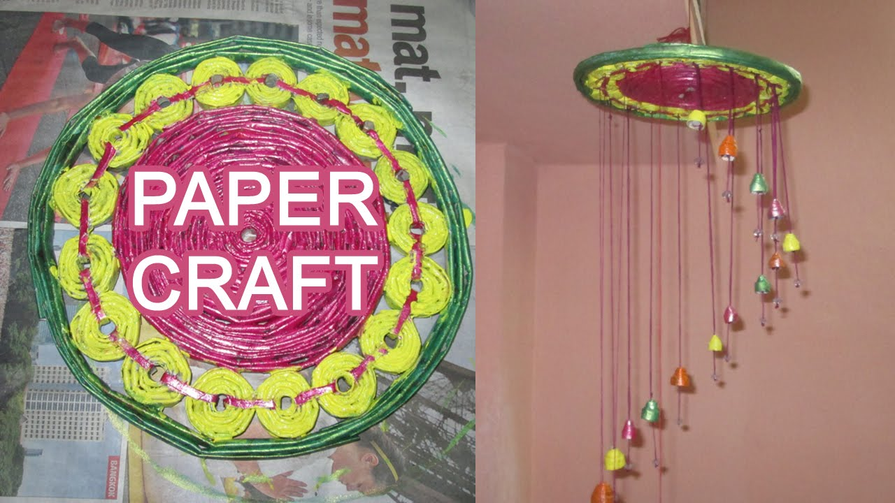 How to make newspaper chandelier news paper wall hanging youtube aloadofball Gallery