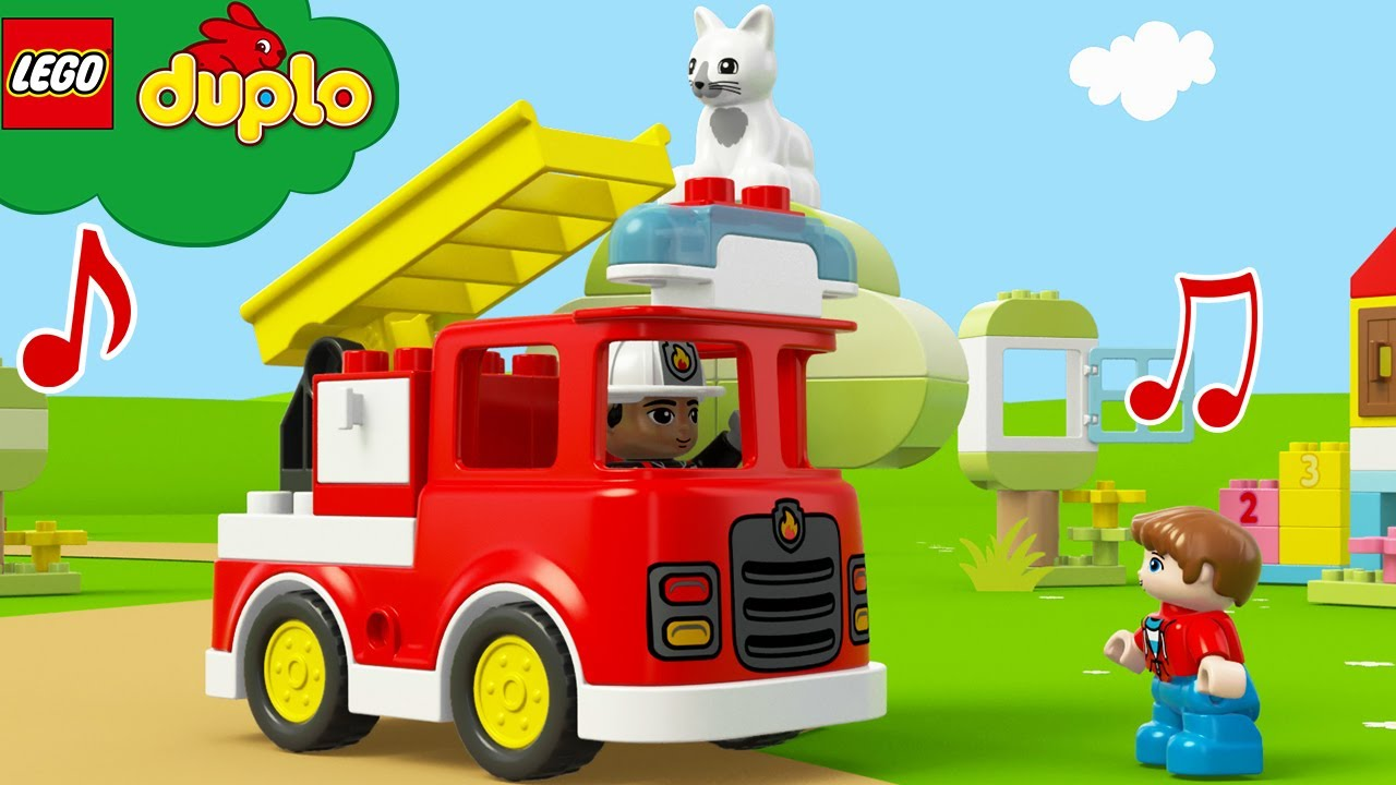 LEGO Trucks For Kids | Firetruck Cat Rescue! +More Rhymes & Baby Songs | Learning ABCs & 123