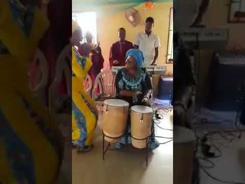 Fayose's 78yr Old Mother Spotted Drumming In Church 2day As Others Dance
