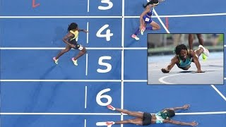 Runner Slides Head-First To Cross Finish Line Taking Olympic Gold(, 2016-08-16T17:42:22.000Z)