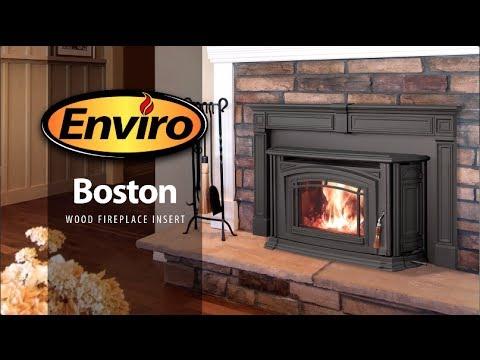 Boston Cast Iron Wood Fireplace Insert, Cast Iron Wood Stove Fireplace Inserts