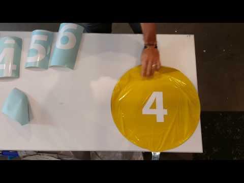 """Vinyl Transfer onto 18"""" circular foil balloons"""