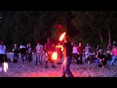 chick dancing with fireballs