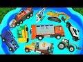 ألعاب الحفارة، الجرّار، شاحنة الإطفاء وسيارة الشرطة للأطفال تعلم الألوان