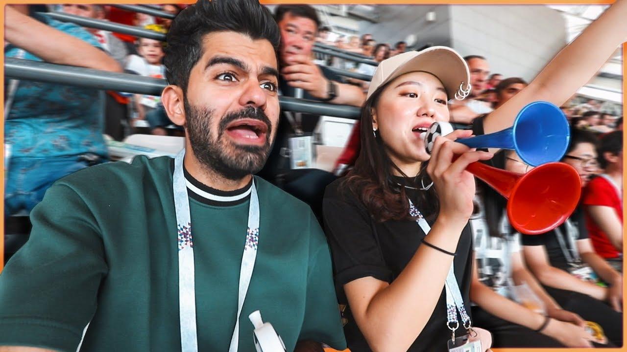 ردة فعلها لما فازت كوريا على ألمانيا | مبارة مجنونة من الملعب