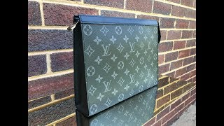 Louis Vuitton Men Pochette Voyage MM Monogram Eclipse - Radon Your Closet