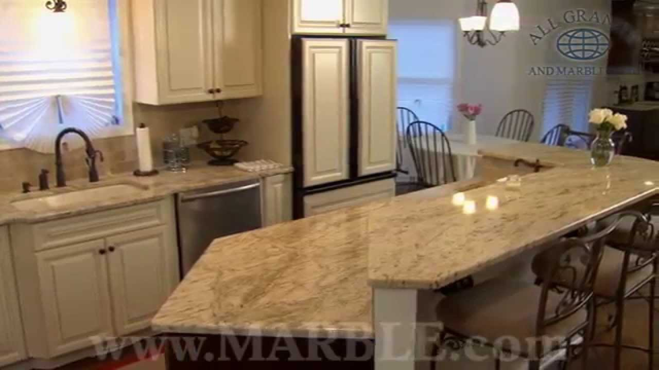 Colonial Gold Granite Kitchen Countertops V By Marble.com   YouTube
