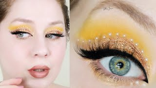 L.A. Girl Desert Dream Pearl Rhinestones Pantone 2021 Yellow Makeup Tutorial | Lillee Jean