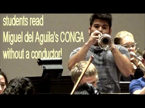 Orchestra music Lynn Univ without conductor: music Miguel del Aguila CONGA - Classical Latin