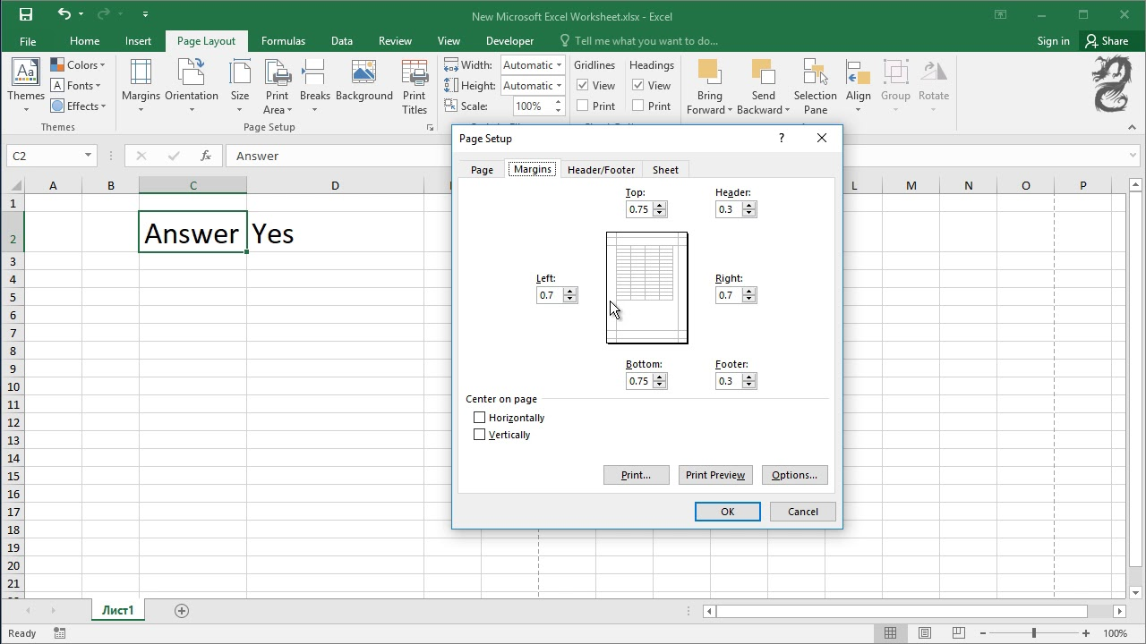 How to Center Worksheets Horizontally and Vertically in Excel