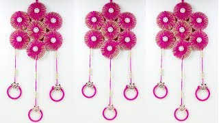 BEAUTIFUL WALL HANGING FROM OLD BANGLES || DIY-WALL TORAN FROM WOOLEN  AND HAIR BAND || WALLHANGING