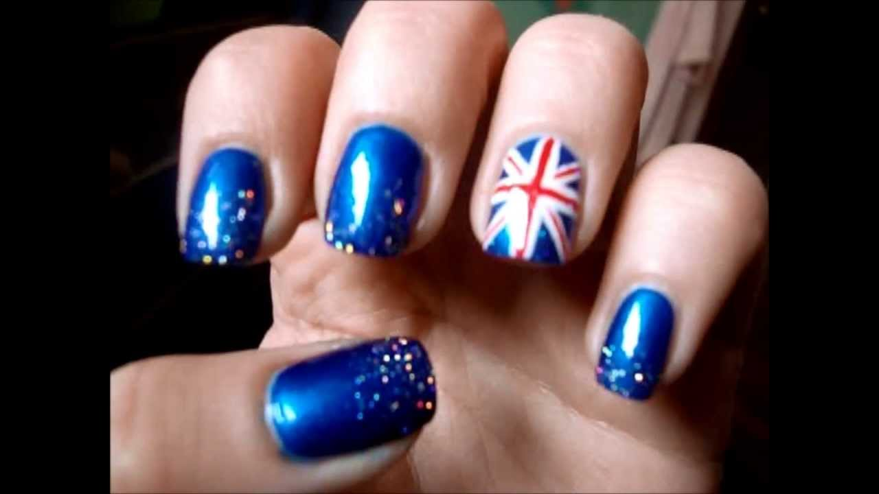 SPARKLING ENGLISH FLAG Nail Art Tutorial - SPARKLING ENGLISH FLAG Nail Art Tutorial - YouTube