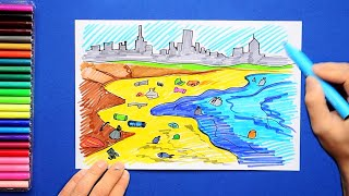 How to draw and color a polluted beach with plastic