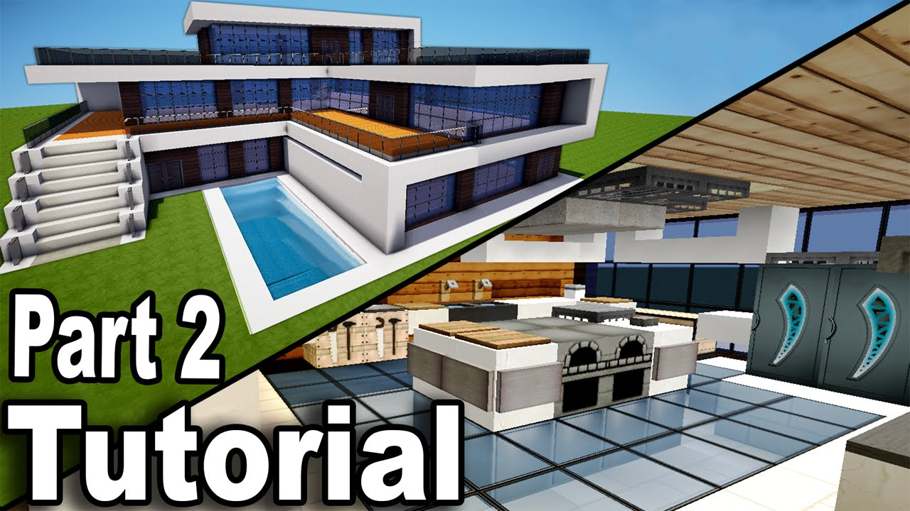 Minecraft realistic modern house tutorial part 2 interior how to build a house youtube