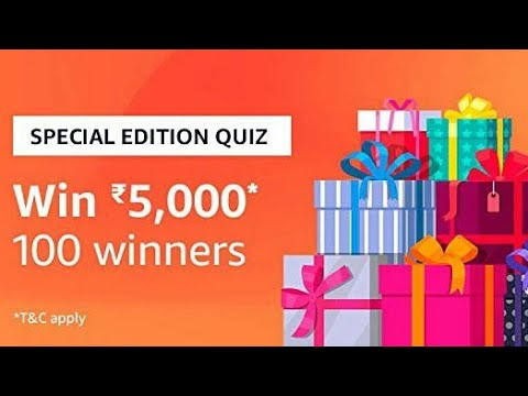 Amazon Special Edition Quiz Answers 30-October-2018  Win  ₹5,000 to 100 Winners