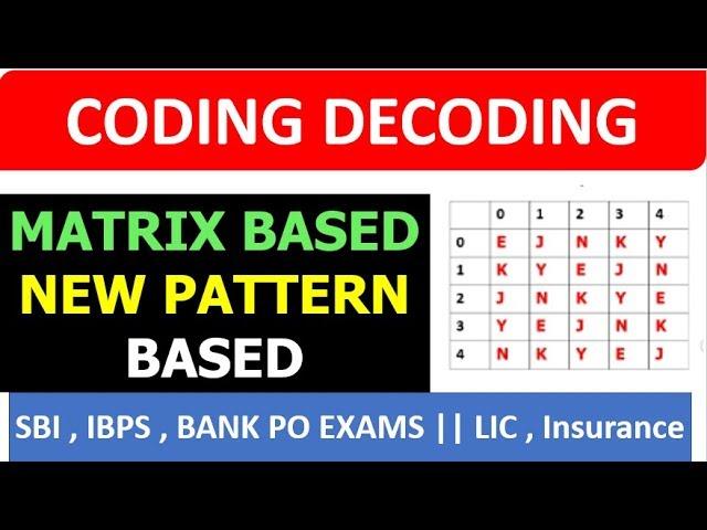 Matrix Based Coding Decoding (NEW PATTERN) SBI IBPS PO and CLERK EXAM BASED