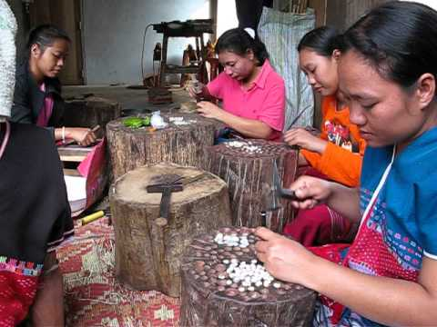Thai Karen Hill Tribe people is making the silver beads