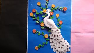 Easy! Wall Hanging craft idea// DIY cotton craft for peacock//peacock craft idea.suchipatra art...