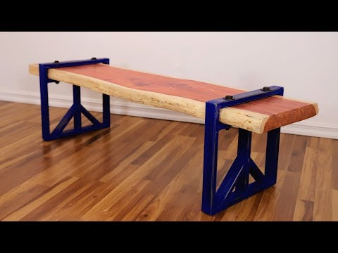 DIY Live Edge Slab Bench w/ Steel Legs | Easy Welding Project