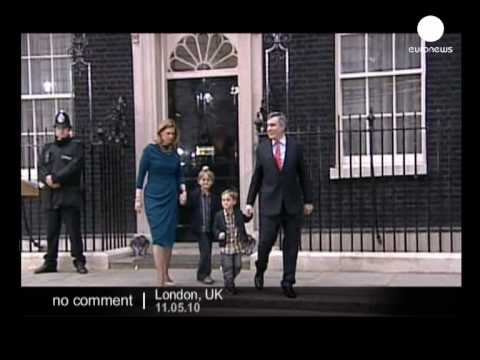 British Prime Minister Gordon Brown resigns and leaves...