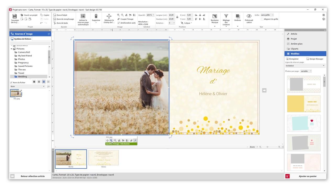 creer des invitations de mariage dans saal design