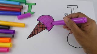 Learning colours and Alphabets I and J | colouring for Children's | Learning words