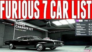 Forza Horizon 2 Furious 7 Car List : Fast and Furious Cars