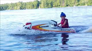 Kid Rips it up Stand up on Built Jet Ski