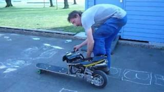 Skateboard  meets Pocket Bike  - NOS Skating - Gas powered Skateboard - crazy Longboard / Scooter