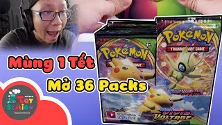 On the 1st of Tet, 36 packs of Vivid Voltage Pokemon TCG ToyStation 561 are fully opened
