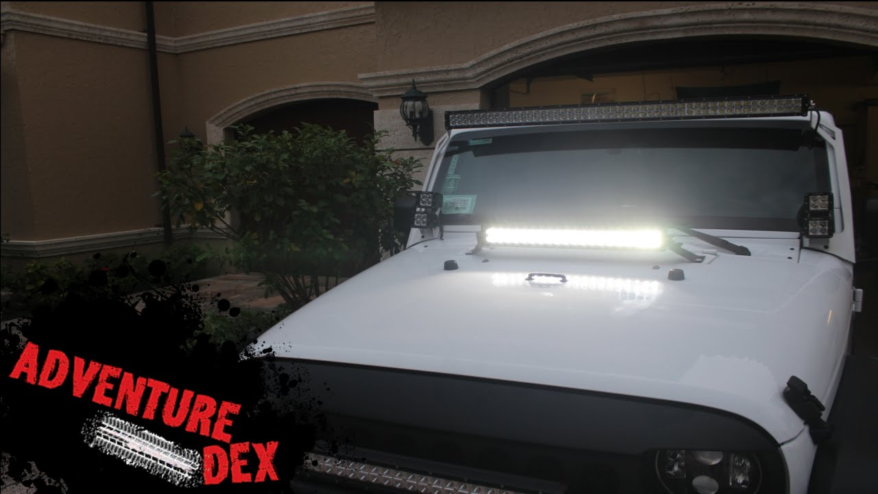 Jeep wrangler 22in led light bar hood mount by auxbeam youtube jeep wrangler 22in led light bar hood mount by auxbeam aloadofball Images