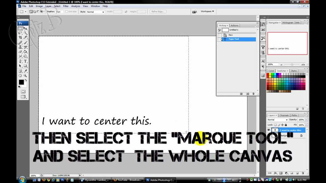 Tutorial centering text in photoshop cs3 youtube tutorial centering text in photoshop cs3 ccuart Image collections