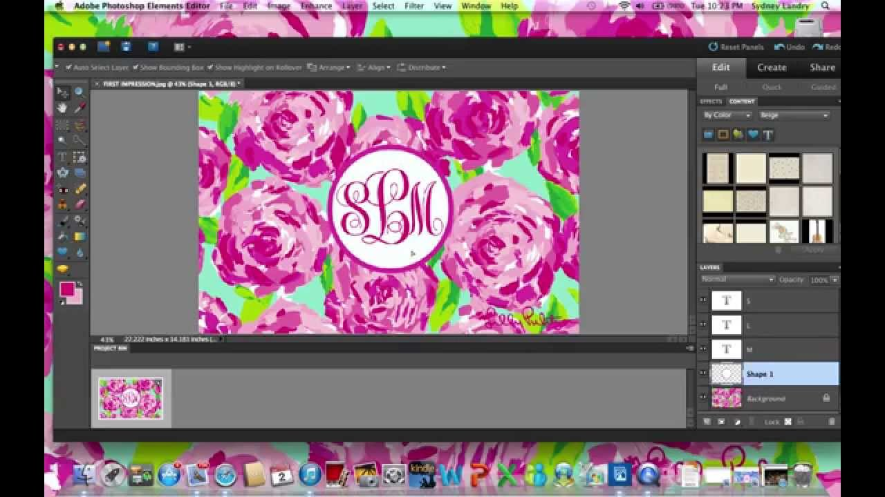 how to make a monogram background  wallpaper  with adobe photoshop  mac